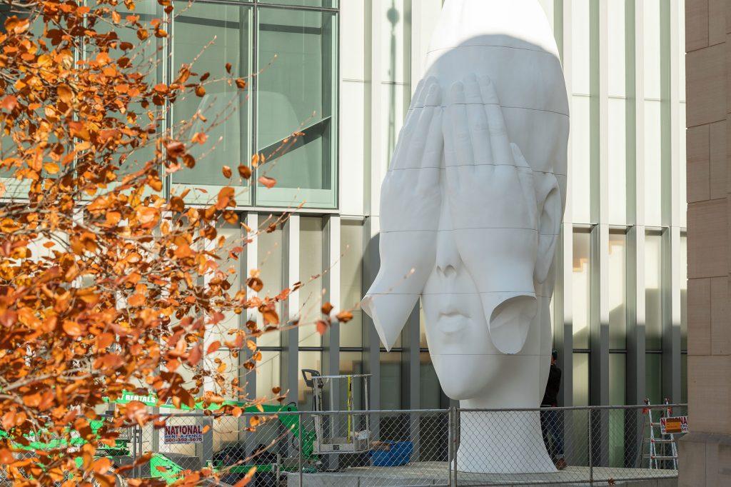 Plensa's sculpture outside of UMMA.