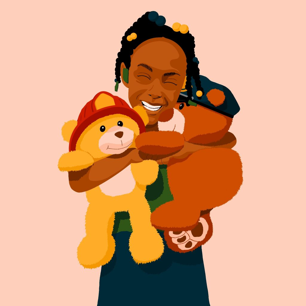 Illustration of Skylar smiling holding two teddy bears representing her parents' roles as first responders.