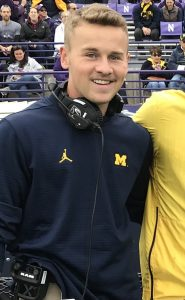 Teddy Bolin Coaching from the sidelines at a Michigan Football game.t