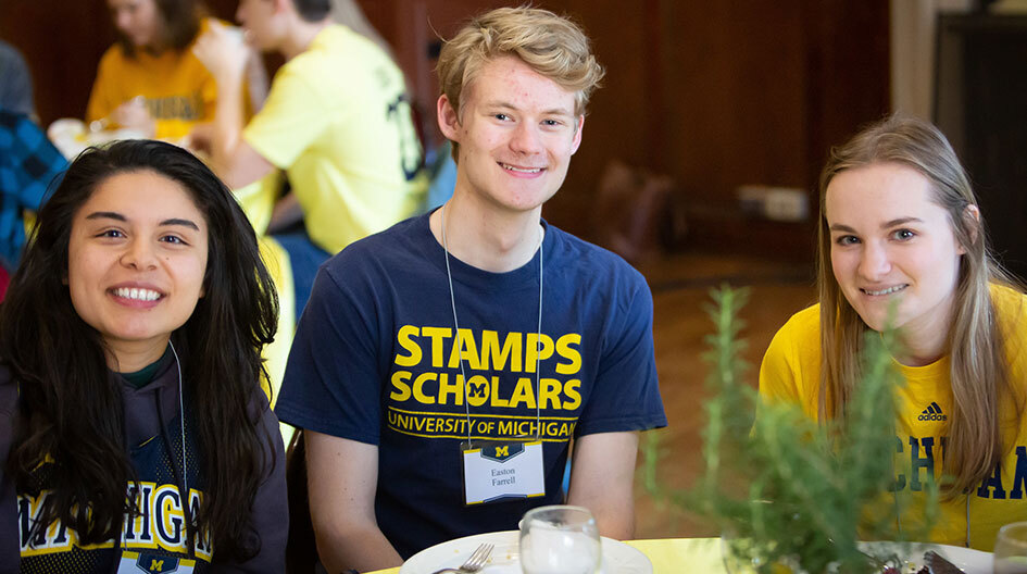 Portrait of Amytess with fellow Stamps Scholars: Easton Farrell (Engineering Class of 2021) and Amanda Jacobs (BSN '20)