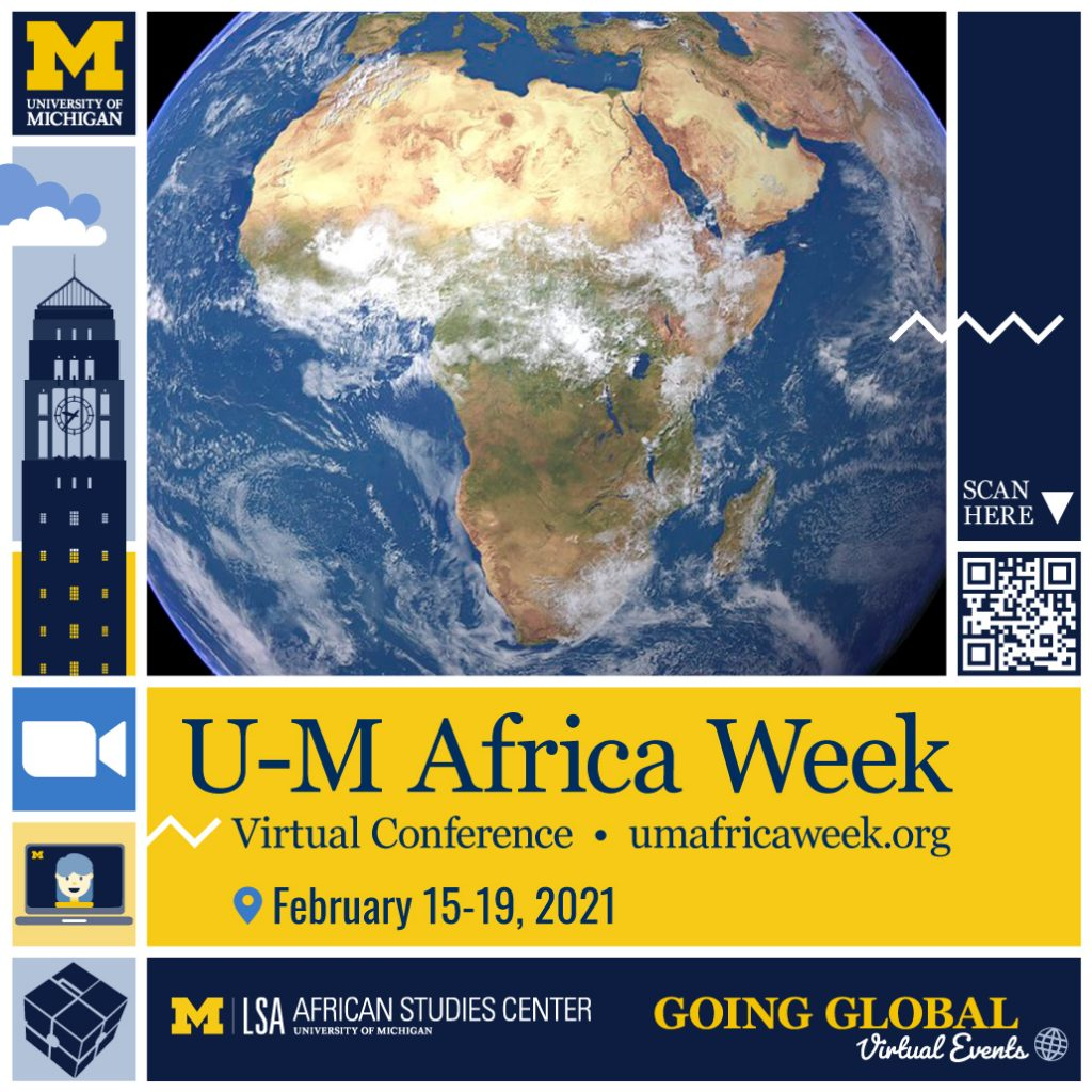 Africa Week logo depicting the globe showing the continent of Africa with the information for U-M Africa Week
