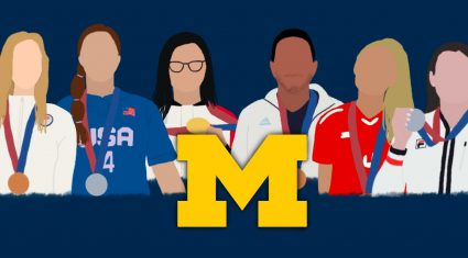 Graphic of the six Olympic medalists who received donor support